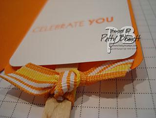 Popcicle card ribbon close up
