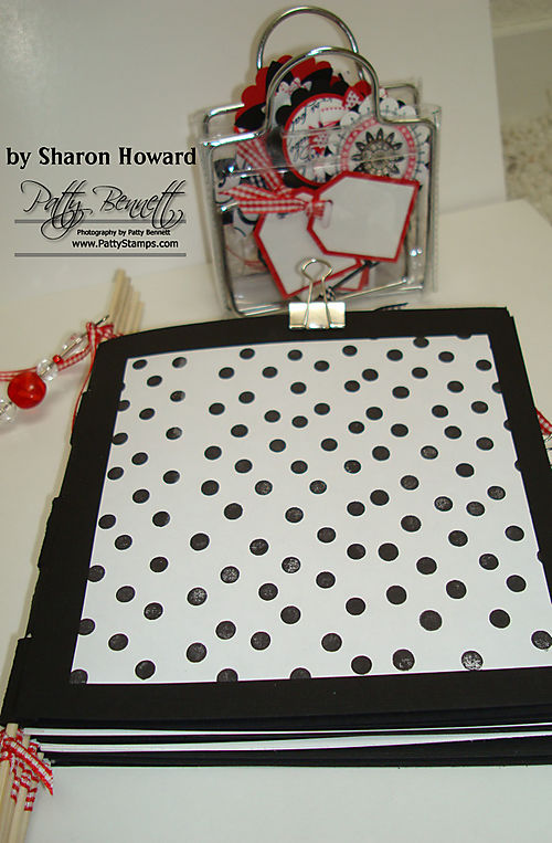 Red white black book and tags